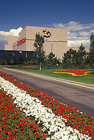 brewery, beer, Fort Collins, CO, Colorado, Flowers decorate the grounds of the Anheuser-Busch Brewery in Fort Collins.