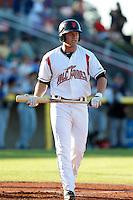 Shilo McCall #9 of the Salem-Keizer Volcanoes bats against the Tri-City Dust Devils at Volcanoes Stadium on July 27, 2013 in Keizer, Oregon. Tri-City defeated Salem-Keizer, 5-4. (Larry Goren/Four Seam Images)