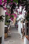 Spain, Andalusia, Province Almería, Costa de Almería, Mojácar: Street with Bougainvillea in white village | Spanien, Andalusien, Provinz Almería, Costa de Almería, Mojácar: enge Gasse im weissen Dorf mit Bougainvillea