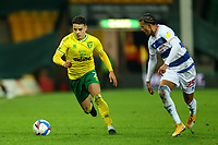 29th December 2020; Carrow Road, Norwich, Norfolk, England, English Football League Championship Football, Norwich versus Queens Park Rangers; Max Aaron of Norwich City takes on Niko Hämäläinen of Queens Park Rangers