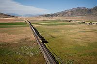 aerial view, freight train ,Mona, UT