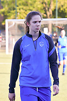 Hanne Merkelbach (25) of KRC Genk pictured before a female soccer game between  Racing Genk Ladies and White Star Woluwe on the 8 th matchday of play off 2 in the 2020 - 2021 season of Belgian Scooore Womens Super League , tuesday 18 th of May 2021  in Genk , Belgium . PHOTO SPORTPIX.BE | SPP | JILL DELSAUX