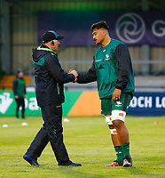 1st October 2021;  The Sportsground, Galway, Ireland; United Rugby Championships, Connacht versus Bulls; Connacht head coach Andy Friend shakes hands with Abraham Papali'i ahead of his first home match in front of supporters at The Sportsgrounds