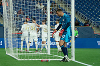 FOXBOROUGH, MA - MAY 1: Atlanta United players celebrate a penalty goal during a game between Atlanta United FC and New England Revolution at Gillette Stadium on May 1, 2021 in Foxborough, Massachusetts.
