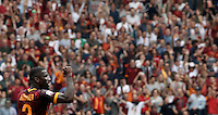 Calcio, Serie A: Roma vs ChievoVerona. Roma, stadio Olimpico, 8 maggio 2016.<br /> Roma's Antonio Ruediger celebrates after scoring during the Italian Serie A football match between Roma and ChievoVerona at Rome's Olympic stadium, 8 May 2016.<br /> UPDATE IMAGES PRESS/Isabella Bonotto