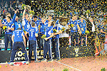 Halle/Westfalen, Germany, March 01: Players of VfB Friedrichshafen celebrate following the victory in the Herren Volleyball DVV-Pokalfinale against SVG Lueneburg on March 1, 2015 at the Gerry Weber Stadion in Halle/Westfalen, Germany. Final score 0-3 (13-25, 13-25, 18-25). (Photo by Dirk Markgraf / www.265-images.com) *** Local caption ***