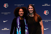 Philadelphia, PA - Thursday January 18, 2018: Nadia Gomes, Yael Averbuch during the 2018 NWSL College Draft at the Pennsylvania Convention Center.