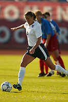 Brandi Chastain opened the scoring on a penalty kick. The USWNT defeated Russia 5-1 on  September 29, at Mitchel Athletic Complex, Uniondale, NY.