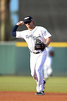 Lakeland Flying Tigers second baseman Curt Powell (10) throws to first during a game against the Palm Beach Cardinals on April 13, 2015 at Joker Marchant Stadium in Lakeland, Florida.  Palm Beach defeated Lakeland 4-0.  (Mike Janes/Four Seam Images)