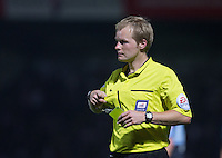Referee Gavin Ward during the Capital One Cup match between Wycombe Wanderers and Fulham at Adams Park, High Wycombe, England on 11 August 2015. Photo by Andy Rowland.