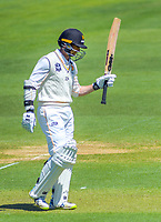 Wellington's Devon Conway acknowledges applause for his 50 run milestone during day one of the Plunket Shield cricket match between the Wellington Firebirds and Canterbury at Basin Reserve in Wellington, New Zealand on Tuesday, 29 October 2019. Photo: Dave Lintott / lintottphoto.co.nz