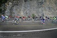 peloton racing next to the rockformations alongside the Mediteranian<br /> <br /> 2014 Milano - San Remo
