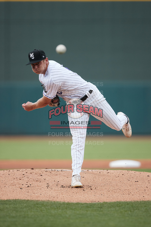 Winston-Salem Dash starting pitcher Bailey Horn (9) in action against the Hickory Crawdads at Truist Stadium on July 7, 2021 in Winston-Salem, North Carolina. (Brian Westerholt/Four Seam Images)