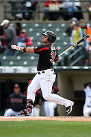 Rochester Red Wings outfielder Oswaldo Arcia (31) at bat during a game against the Louisville Bats on May 4, 2014 at Frontier Field in Rochester, New  York.  Rochester defeated Louisville 12-6.  (Mike Janes/Four Seam Images)