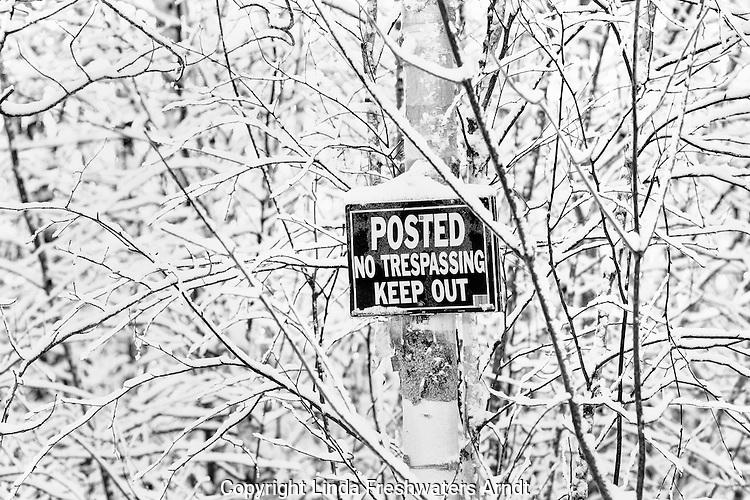 No trespassing sign in winter