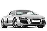 Low aggressive passenger side front three quarter view of a 2008 - 2012 Audi R8 V8 FSI Coupe.