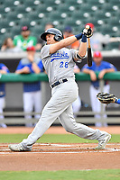Pensacola Blue Wahoos third baseman Mitch Nay (28) swings at a pitch during a game against the Tennessee Smokies at Smokies Stadium on August 30, 2018 in Kodak, Tennessee. The Blue Wahoos defeated the Smokies 5-1. (Tony Farlow/Four Seam Images)
