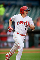Louisville Bats third baseman Brandon Dixon (7) runs to first base during a game against the Columbus Clippers on May 1, 2017 at Louisville Slugger Field in Louisville, Kentucky.  Columbus defeated Louisville 6-1  (Mike Janes/Four Seam Images)