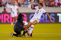 HOUSTON, TX - JANUARY 31: Lynn Williams #13 of the United States battles the GK of Panama during a game between Panama and USWNT at BBVA Stadium on January 31, 2020 in Houston, Texas.