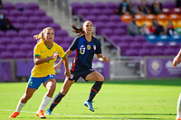 ORLANDO CITY, FL - FEBRUARY 21: Alex Morgan #13 of the USWNT waits for the header during a game between Brazil and USWNT at Exploria Stadium on February 21, 2021 in Orlando City, Florida.