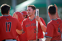 Ball State Cardinals right fielder Ross Messina (23) during a game against the Mount St. Mary's Mountaineers on March 9, 2019 at North Charlotte Regional Park in Port Charlotte, Florida.  Ball State defeated Mount St. Mary's 12-9.  (Mike Janes/Four Seam Images)