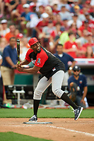 Los Angeles Angels great Vladimir Guerrero bats during the All-Star Legends and Celebrity Softball Game on July 12, 2015 at Great American Ball Park in Cincinnati, Ohio.  (Mike Janes/Four Seam Images)