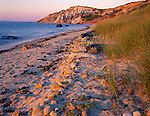 Martha's Vineyard, MA<br /> Warm evening light on the sands, dune grasses, and colored cliffs of Gay Head Beach on the western tip of Martha's Vineyard