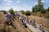 Peloton on the 2nd cobble section of the stage. <br /> <br /> Stage 9: Arras Citadelle > Roubaix (154km)<br /> <br /> 105th Tour de France 2018<br /> ©kramon
