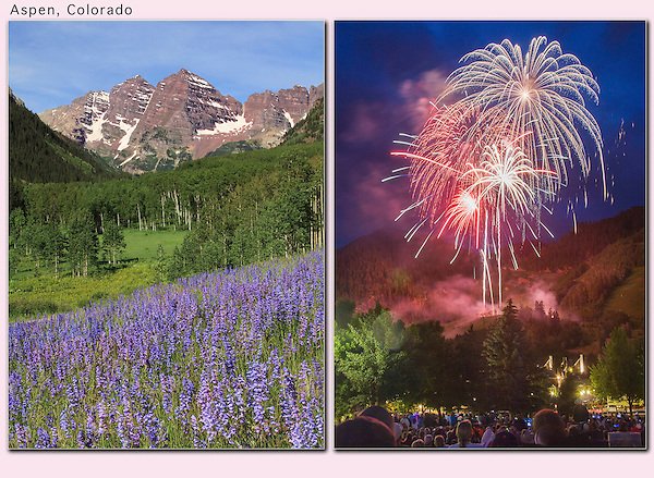 The Aspen area provides a beautiful mountain town, along with the famous Maroon Bells Peaks.<br />