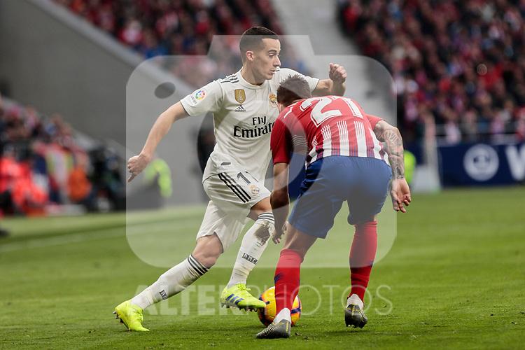 Atletico de Madrid's Lucas Hernandez and Real Madrid's Lucas Vazquez during La Liga match between Atletico de Madrid and Real Madrid at Wanda Metropolitano Stadium in Madrid, Spain. February 09, 2019. (ALTERPHOTOS/A. Perez Meca)