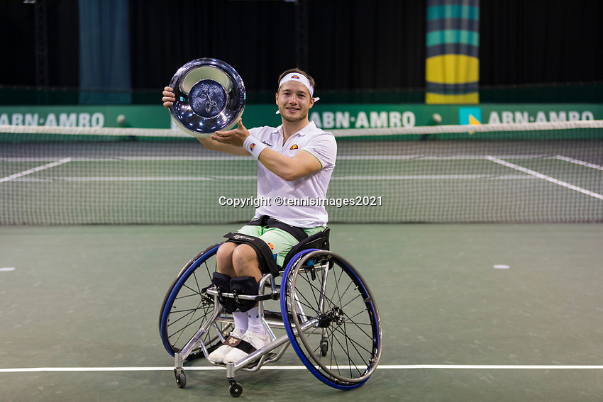 Rotterdam, The Netherlands,7 march  2021, ABNAMRO World Tennis Tournament, Ahoy,  <br /> Wheelchair final: Alfie Hewett (GBR).<br /> Photo: www.tennisimages.com/