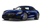 Stock pictures of low aggressive front three quarter view of 2020 Mercedes Benz AMG-GT C 3 Door Coupe Low Aggressive