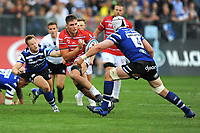 Jake Polledri of Gloucester Rugby looks to avoid Dave Attwood of Bath Rugby during the Gallagher Premiership Rugby match between Bath Rugby and Gloucester Rugby at The Recreation Ground on Saturday 8th September 2018 (Photo by Rob Munro/Stewart Communications)