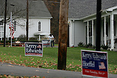 Eastview, Pennsylvania.USA.October 23, 2004..Bush and Kerry signs face off in a small town.