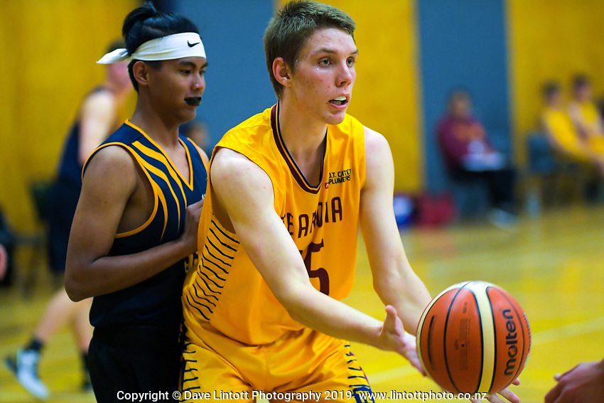 Action from the 2019 Schick A Boys' Secondary Schools Basketball Premiership National Championship match between Te Aroha College and Hornby High School at the Central Energy Trust Arena in Palmerston North, New Zealand on Monday, 30 September 2019. Photo: Dave Lintott / lintottphoto.co.nz