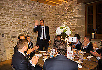 Switserland, Genève, September 16, 2015, Tennis,   Davis Cup, Switserland-Netherlands, location of the official diner, Domaine du Clos Du Chateau Thiemo de Bakker is being presented<br /> Photo: Tennisimages/Henk Koster