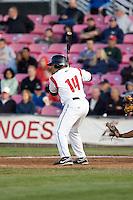 July 7, 2009: Salem-Keizer Volcanoes' Juan Martinez at-bat during a Northwest League game against the Tri-City Dust Devils at Volcanoes Stadium in Salem, Oregon.