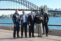 SYDNEY, AUSTRALIA - August 23, 2016:  Cal Bears Football team Australia trip.  Sydney Cup press conference.  Cal QB Davis Webb, Cal Football Coach Sonny Dykes, New South Wales Minister for Trade, Tourism and Major Events, the Hon. Stuart Ayres, Hawaii Football Coach Nick Rolovich, and Hawaii WR Marcus Kemp.