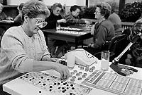 -day care center for elderly people in Cene, province of Bergamo, playing bingo (October 1990)....- centro diurno per anziani a Cene, in provincia di Bergamo, gioco della tombola  (ottobre 1990)
