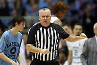 CHAPEL HILL, NC - FEBRUARY 1: Official Jamie Luckie signals a foul during a game between Boston College and North Carolina at Dean E. Smith Center on February 1, 2020 in Chapel Hill, North Carolina.