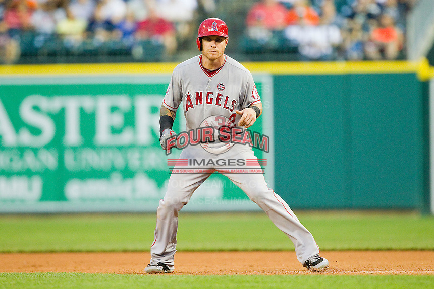 Josh Hamilton (32) of the Los Angeles Angels takes his lead off of first base against the Detroit Tigers at Comerica Park on June 25, 2013 in Detroit, Michigan.  The Angels defeated the Tigers 14-8.  (Brian Westerholt/Four Seam Images)