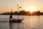 Sailing at sunset near wharf Santa Cruz,