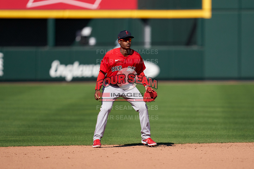 Boston Red Sox shortstop Jeter Downs (20) during a Major League Spring Training game against the Atlanta Braves on March 7, 2021 at CoolToday Park in North Port, Florida.  (Mike Janes/Four Seam Images)