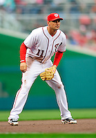 31 March 2011: Washington Nationals third baseman Ryan Zimmerman in Opening Day action against the Atlanta Braves at Nationals Park in Washington, District of Columbia. The Braves shut out the Nationals 2-0 to start off the 2011 Major League Baseball season. Mandatory Credit: Ed Wolfstein Photo