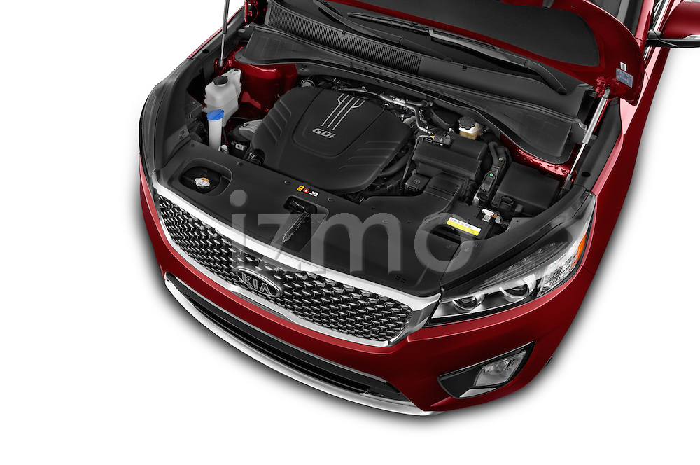 Car Stock 2016 KIA Sorento SX AT 5 Door SUV Engine high angle detail view