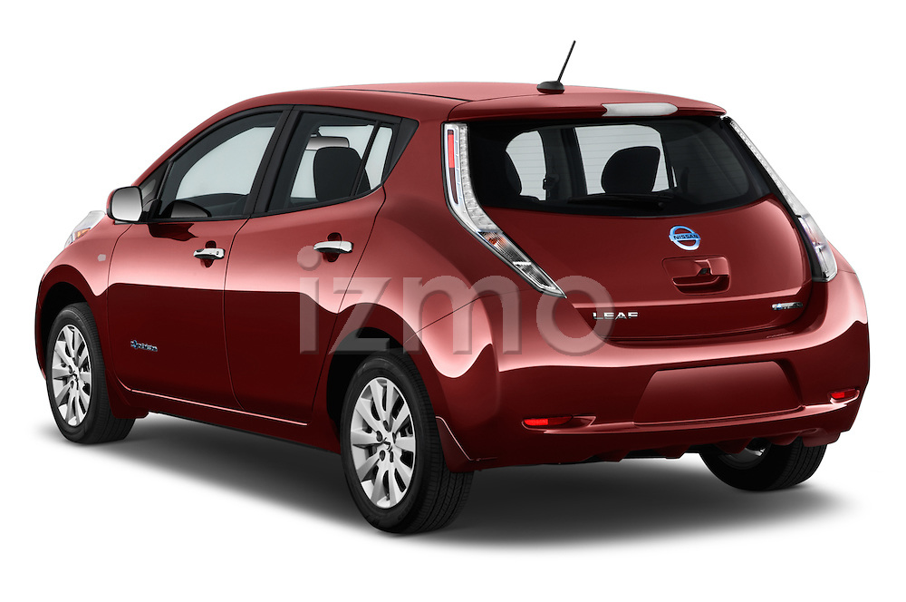 Car pictures of rear three quarter view of 2017 Nissan LEAF S 5 Door Hatchback Angular Rear