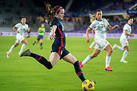 ORLANDO, FL - FEBRUARY 24: Rose Lavelle #16 of the USWNT crosses the ball during a game between Argentina and USWNT at Exploria Stadium on February 24, 2021 in Orlando, Florida.