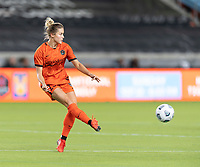 HOUSTON, TX - SEPTEMBER 10: Abby Dahlkemper #23 of the Houston Dash clears the ball from her side of the field during a game between Chicago Red Stars and Houston Dash at BBVA Stadium on September 10, 2021 in Houston, Texas.