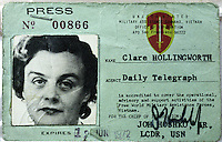 090201: CLARE HOLLINGWORTH: HONG KONG<br /> Ninety year-old Clare Hollingworth's old press card. Hollingworth is a celebrated veteran journalsit living in the ex-British colony.<br /> Photo by Richard Jones/sinopix<br /> ©sinopix
