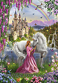 Interlitho-Marcello, FANTASY, paintings+++++,fairy,KL4519,#FI#, EVERYDAY,princess,unicorn,castle.rainbow ,puzzles